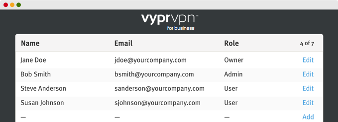Use VyprVPN for business to easily manage all the user.
